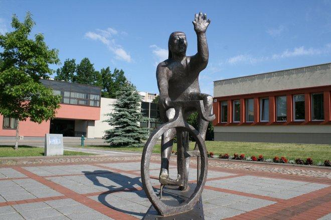Cyclist sculpture