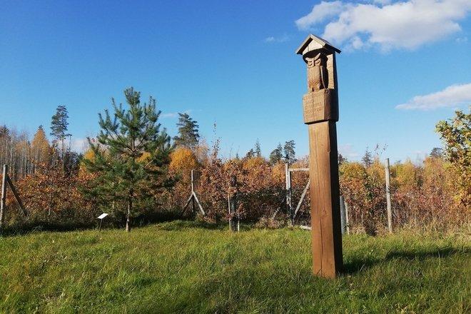 Скульптура в память лесничему З.Трускаускасу